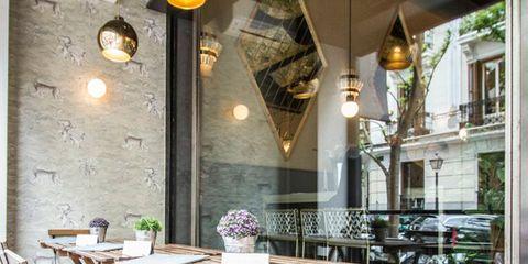Wood, Lighting, Light fixture, Furniture, Room, Table, Ceiling, Hardwood, Ceiling fixture, Restaurant,