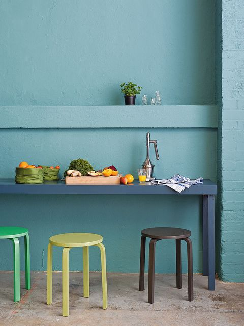 Green, Flowerpot, Wall, Teal, Turquoise, Stool, Houseplant, Still life photography, Peach, Bar stool,