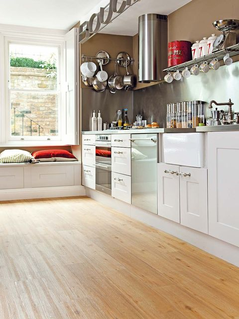 Wood, Floor, Room, Interior design, Flooring, White, Cupboard, Wood flooring, Cabinetry, Kitchen,