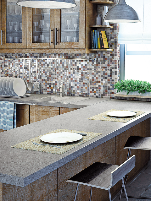 Wall, Grey, Home accessories, Composite material, Tile, Countertop, Granite, Outdoor table, Tile flooring, Kitchen utensil,