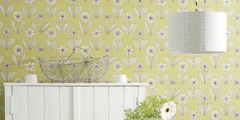 Wallpaper, Green, Room, Yellow, Wall, Interior design, Furniture, Table, Interior design, Design,