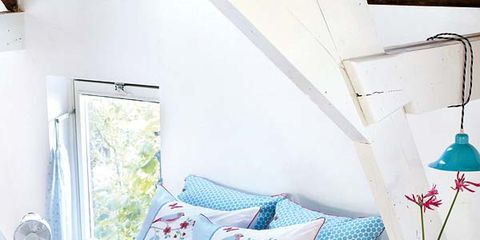 Blue, Room, Interior design, Green, Textile, Furniture, Bed, Wall, Pink, Bedding,