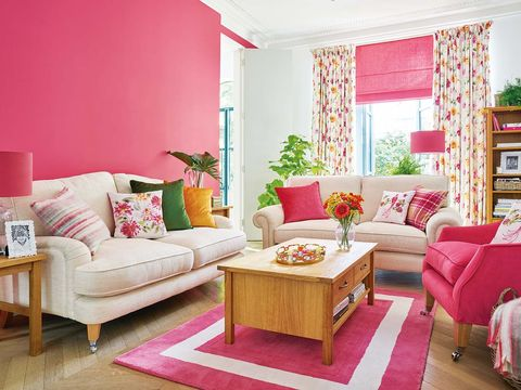 Living room, Furniture, Room, Pink, Interior design, Property, Floor, Table, Couch, Magenta,