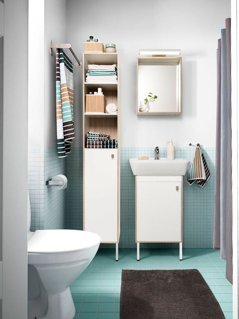 Bathroom, Room, Toilet, Plumbing fixture, Property, Interior design, Bathroom accessory, Shelf, Bathroom cabinet, Floor,