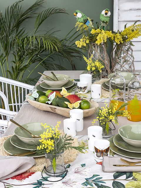 Green, Yellow, Table, Centrepiece, Flower, Cut flowers, Plant, Room, Furniture, Flower Arranging,