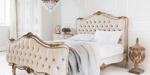 Bed, Furniture, Bedroom, White, Room, Bed frame, Product, Bed sheet, Bedding, Interior design,