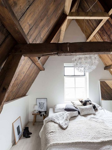 Bedroom, Room, Attic, Property, Furniture, Ceiling, Bed, Beam, Interior design, House,