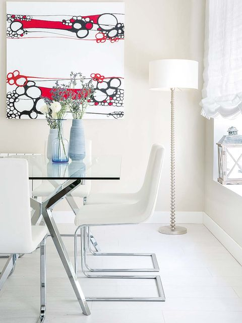 White, Interior design, Furniture, Product, Room, Table, Floor, Chair, Design, Material property,