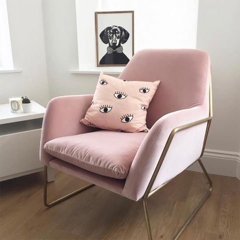 Furniture, Chair, Pink, Interior design, Room, Couch, Living room, Floor, Slipcover, Design,
