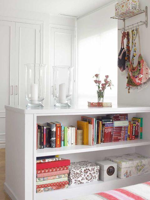 Room, Interior design, Wood, Shelving, Wall, Red, Shelf, Interior design, Home, Grey,
