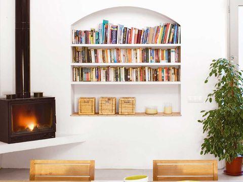 Wood, Room, Flowerpot, Interior design, Wall, Shelf, Shelving, Hearth, Bookcase, Interior design,