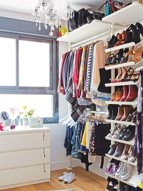Room, Interior design, Clothes hanger, Closet, Chest of drawers, Shelving, Retail, Home, Drawer, Interior design,