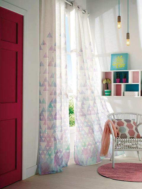 Pink, Curtain, Room, Interior design, Door, Textile, Floor, Window treatment, Furniture, Home,