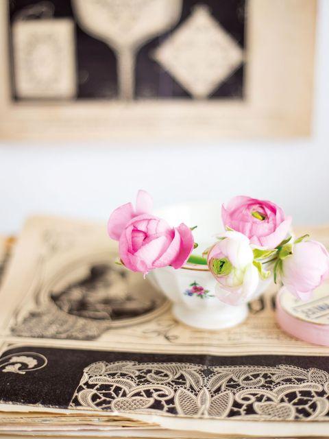 Pink, Photograph, Room, Table, Furniture, Flower, Textile, Plant, Interior design, Rose,
