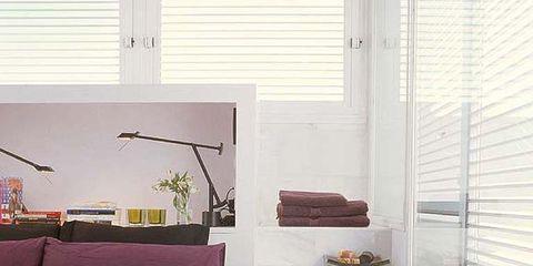 Interior design, Room, Bed, Textile, Window covering, Wall, Bedding, Floor, Window blind, Linens,