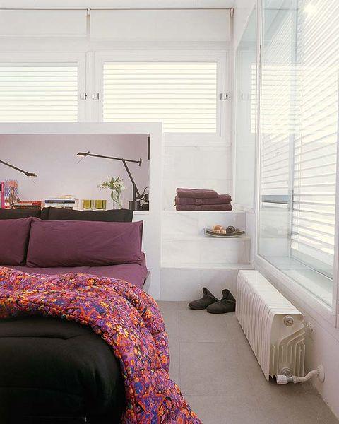 Interior design, Room, Bed, Floor, Textile, Window covering, Bedding, Wall, Linens, Bedroom,