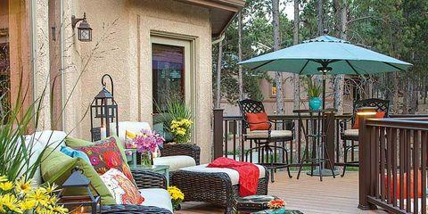 Flowerpot, Door, Outdoor table, Umbrella, Outdoor furniture, Hardwood, Deck, Houseplant, Patio, Outdoor structure,
