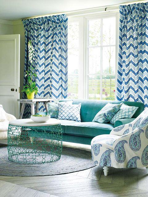 Blue, Green, Interior design, Room, Living room, Home, Textile, Floor, Wall, Teal,