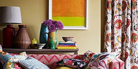 Blue, Room, Interior design, Green, Textile, Living room, Wall, Interior design, Home, Pattern,