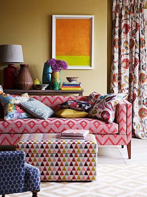 Room, Interior design, Textile, Wall, Living room, Furniture, Home, Interior design, Cushion, Teal,