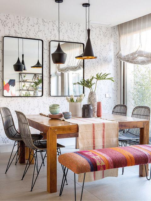Furniture, Room, Interior design, Dining room, Table, Wall, Lighting, Floor, Building, Design,