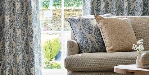 Curtain, Interior design, Window treatment, Furniture, Living room, Room, Textile, Wall, Chair, Couch,