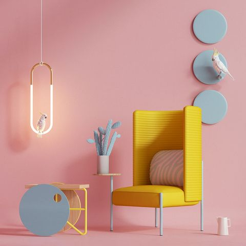 Pink, Blue, Product, Wall, Turquoise, Room, Yellow, Furniture, Orange, Interior design,