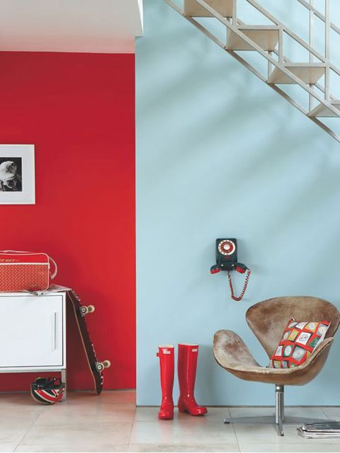 Red, Wall, Room, Orange, Interior design, Wallpaper, Furniture, Chair, Table, Floor,