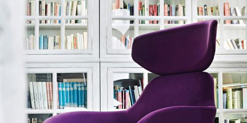 Chair, Furniture, Purple, Violet, Pink, Design, Office chair, Material property, Magenta, Room,
