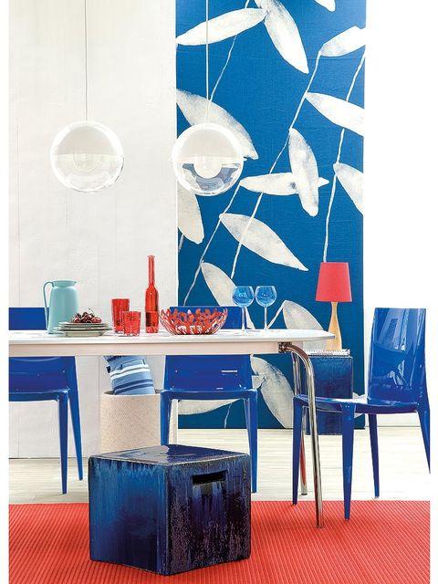 Blue, Furniture, Cobalt blue, Table, Red, Room, Turquoise, Wallpaper, Interior design, Dining room,