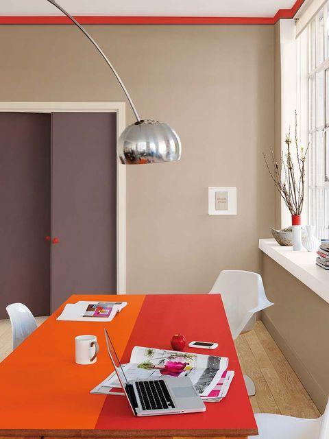 Room, Lighting, Interior design, Floor, Table, Wall, Flowerpot, Ceiling, Laptop part, Flooring,