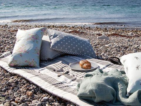 Textile, Coastal and oceanic landforms, Outdoor furniture, Linens, Shore, Ocean, Turquoise, Aqua, Home accessories, Throw pillow,