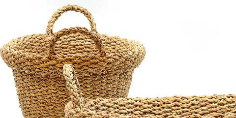 Wicker, Basket, Storage basket, Picnic basket, Home accessories, Beige,
