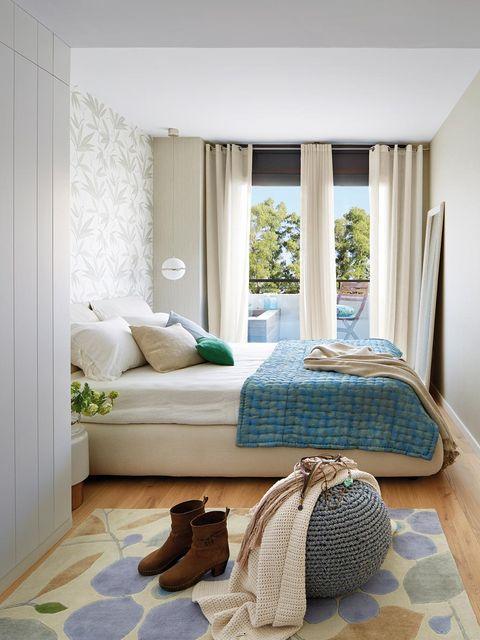 Furniture, Room, Bedroom, Interior design, Property, Bed, Curtain, Floor, House, Living room,