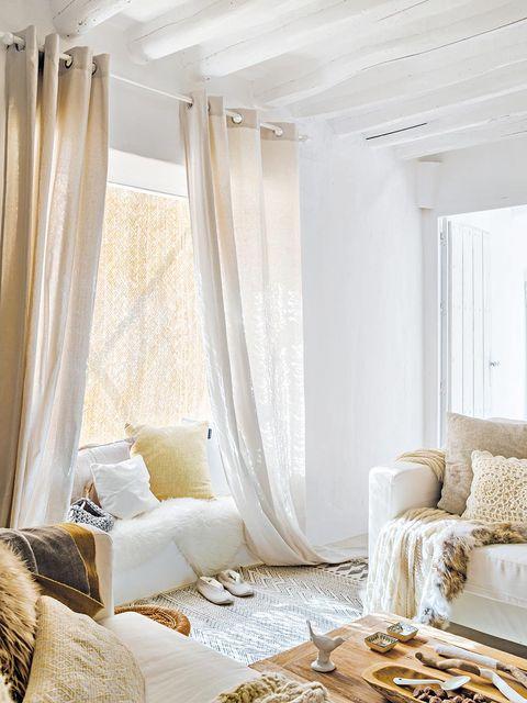 Interior design, Room, Property, Textile, Furniture, Floor, Wall, Interior design, Window treatment, Linens,