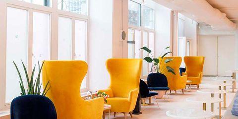 Yellow, Furniture, Interior design, Chair, Room, Orange, Table, Design, Floor, Living room,