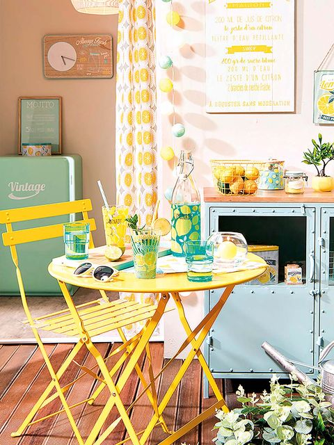 Yellow, Green, Dining room, Table, Furniture, Room, Turquoise, Interior design, Aqua, Chair,