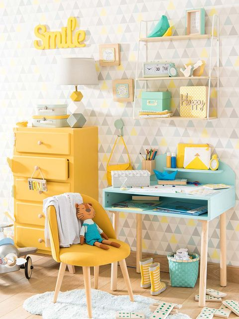 Blue, Yellow, Room, Turquoise, Interior design, Teal, Aqua, Furniture, Drawer, Azure,
