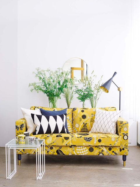 Yellow, Furniture, Table, Room, Coffee table, Interior design, Design, Plant, Couch, Living room,