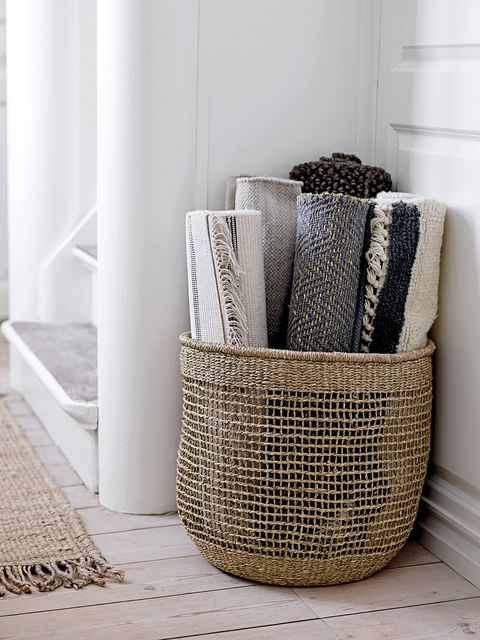 Basket, Storage basket, Room, Furniture, Floor, Table, Home accessories, Wicker, Interior design, Living room,