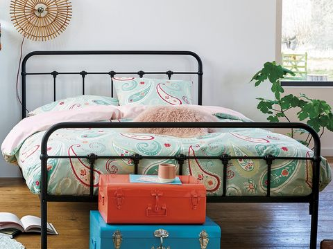 Furniture, Bed, Bedroom, Bed frame, Turquoise, Iron, Room, Bed sheet, Nightstand, Aqua,