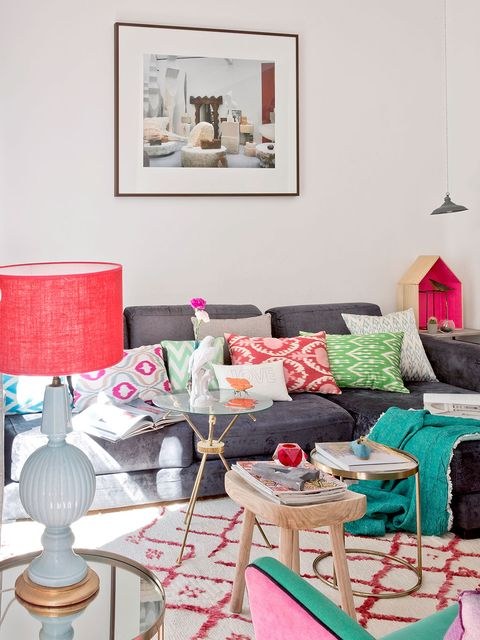Pink, Room, Living room, Furniture, Interior design, Green, Turquoise, Red, Home, Table,