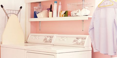 Room, White, Major appliance, Clothes hanger, Kitchen appliance, Cabinetry, Home appliance, Kitchen, Kitchen appliance accessory, Peach,