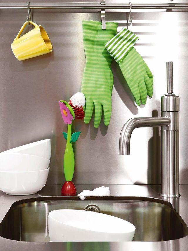 green, sink, countertop, tap, tile, room, kitchen, bathroom, shelf, material property,