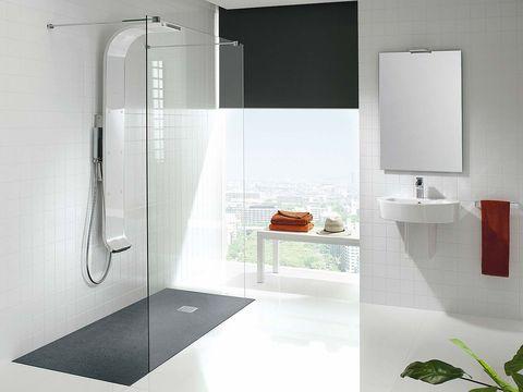 Bathroom, Room, Shower, Tile, Plumbing fixture, Tap, Glass, Floor, Interior design, Automotive exterior,