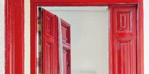 Red, Wall, Pink, Magenta, Colorfulness, Interior design, Fixture, Paint, Art, Home door,