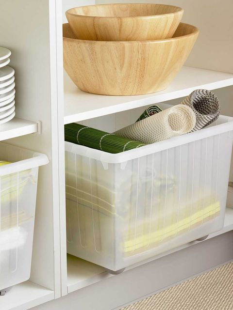 Beige, Home accessories, Wicker, Basket, Storage basket, Shelving, Serveware, Natural material, Shelf, Pottery,