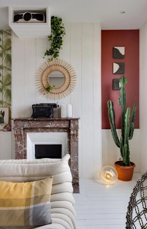 Property, Room, Interior design, Wall, Hearth, Interior design, Living room, Home, Flowerpot, Fireplace,
