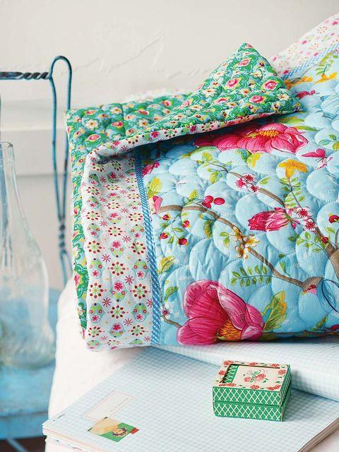 Aqua, Textile, Pink, Turquoise, Room, Pillow, Furniture, Pattern, Linens, Patchwork,