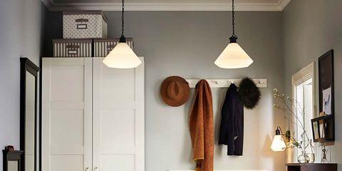Room, Furniture, Interior design, Floor, Door, Table, Building, Clothes hanger, Shelf, Cupboard,